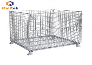 China Folded Stacking Wire Mesh Storage Cages Collapsible Fireproof Steel Material on sale