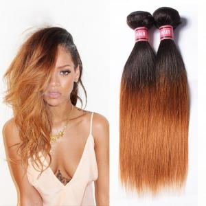 China Grade 7A Ombre Brazilian Straight Hair / Ombre Pre Bonded Hair Extensions on sale