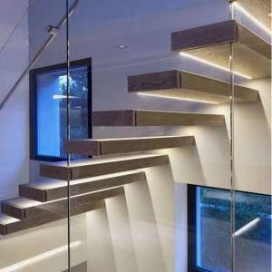 China Villa indoor floating solid wood tread open stairs/staircases timber floating staircase on sale