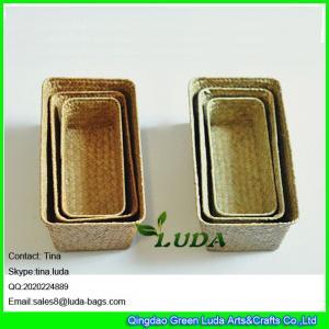 China LUDA wholesale eco-friendly cheap handmade woven straw storage basket weaving on sale