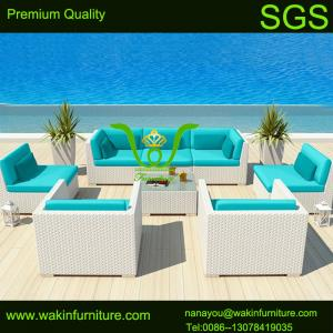 China 7 Pc Patio Outdoor Furniture White Wicker Sofa Set Sectional on sale