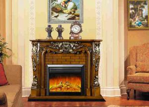 China Remote Control RV Bedroom Vintage Solid Wood Fireplaces Electric Insert on sale