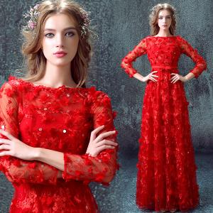 China Red Long Sleeves A Line Elegant Evening Dresses TSJY036 on sale