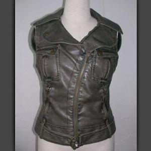 China PU waistcoat, unique design, side zipper pocket on sale