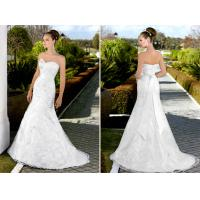 Deep V Neck Lace white bridal Wedding Dresses with long trains , ribbon