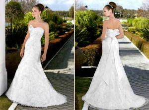 China Deep V Neck Lace white bridal Wedding Dresses with long trains , ribbon on sale