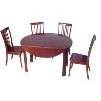 Modern  Cherry Veneer Restaurant Round Table With Chair Set , Dining Room Tables