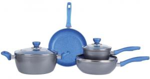 China 7PCS grey aluminum forged blue marble Colorful heat resistant coating cookware set on sale