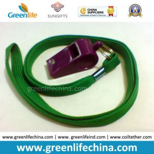 China Green Lanyard Whistle Flat Polyester Lanyard Holder w/Wine Red Plastic Sports Whistle on sale