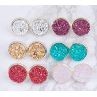 Multicolored Gold Druzy Stud Earrings Round Shaped Gold Plated Solar Quartz Dyed