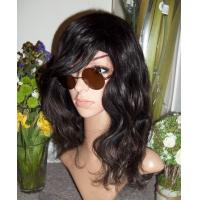 China Top Quality Cool Natural Black Hairstyle Wavy Synthetic Hair Wig With Swept Bang on sale
