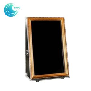 China 65 Inch Stand Alone Selfie Mirror Photo Booth Lightweight With Wooden Frame on sale