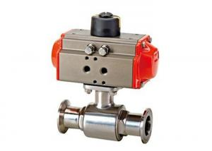 China Pneumatic  Sanitary  Stainless Steel Ball Valve , Two Way Ball Valve With Clamps Ends on sale