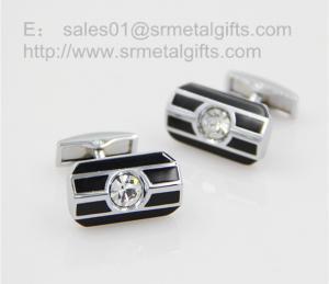 China Crystal stone cufflink with black enamel, gemstone cufflinks for men' shirt, on sale