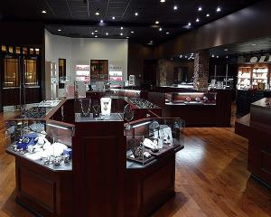 China Glass Jewelry Showcase with LED Lights/Jewelry Chain Store Display Fitting on sale