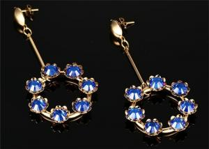 China CZ Pave seven Crystal Ball Drop Earrings With 316L Stainless Steel Material on sale