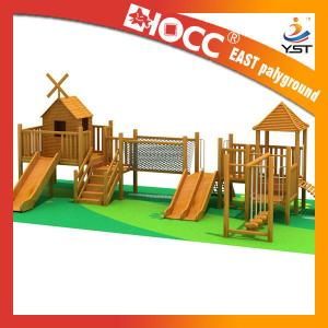 China Funny Outdoor Wooden Play Structures , Wooden Climbing Frame With Slide on sale