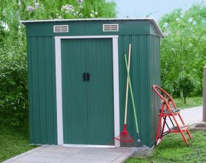 China Color Board Metal Pent Shed , Waterproof Flat Roof Garden Shed For Tool 4X6 ' on sale