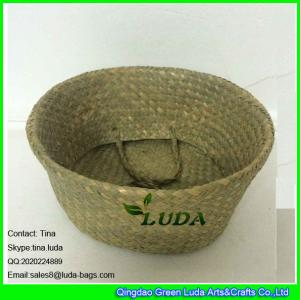 China LUDA foldable storage box natural seagrass straw basket with handles on sale