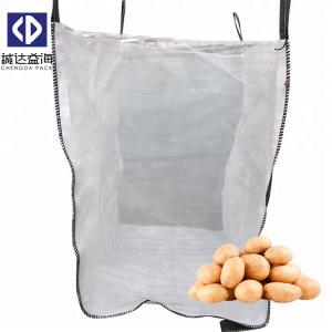 China Big Breathable Mesh FIBC Bulk Bags Open Top Closed Bottom For Onion / Potato on sale
