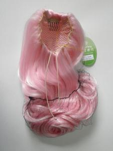 China Pink Wigs Ponytails Hair Pieces Curly 24 Inches , Fake Hair Pieces For Women on sale