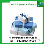 Customized Square New Year Gift Box Present Packaging Gift Boxes with Color Ribbon Stationery Cookie Candy Box