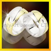 high quality gold plating CZ set 925 silver couple ring