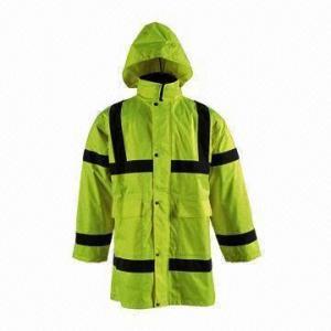 China chaqueta Hola-visible de la lluvia, hecha de 300D Oxford con la capa de la PU, tela ligera/respirable on sale