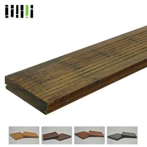 China Style Dark Gray Fossilized Rustic Wide Plank Distressed Bamboo Floor Wholesale on sale