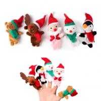 Colorful Plush Finger Puppets , Christmas Finger Puppets Santa Claus Reindeer Puppets Play