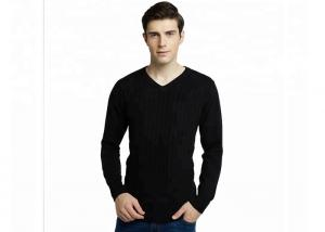 China Casual S - 2XL Size Black V Neck Cable Knitted Jumper Sweater Mens For Spring on sale