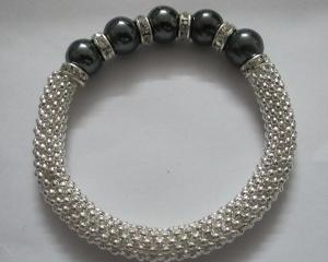 China Stylish Shamballa Beads Bracelets with Hematite and Metal Accessories on sale