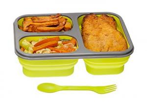 China OEM Healthy Durable Silicone Lunch Box Collapsible With Fork And Spoon on sale