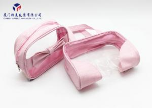 China Fashion Pink Color Lady Hand Clear Cosmetic Bag 13cm Height Soft PVC Window on sale
