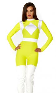 China Yellow White Spandex Dynamic Sexy Superhero Costume with Size S to XXL Available on sale