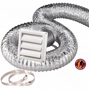 China HVAC Systems Parts Flexible Hose Kit 4'' 8 Ft Aluminum Duct,Vent Cover, Wall Pipe, Clamps Set on sale