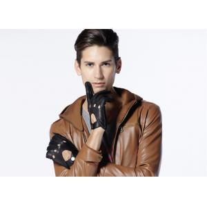 China Breathable Hollow Deer Skin  Leather Driving Gloves With Belt Cuff on sale