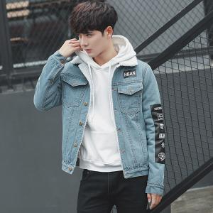 China Light Wash Fade Color Proof Men'S Casual Jean Jackets With Two Chest Pockets on sale