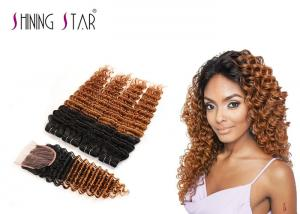 China #1B30 Brazilian Deep Curly Hair With Closure Blonde Human Hair 4 Bundles With Lace Closure on sale
