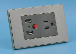 China 15Amp Double USB Wall Socket Gold Color Silver Point Contact 118 * 75mm on sale