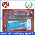 Clear Custom Packaging Bags Waterproof Cosmetic / Make Up PVC Material Long Lifespan