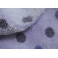150D Purple Dot Print Soft Berber Fleece Fabric For Adult / Children Cloth Lining