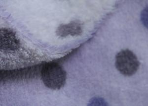 China 150D Purple Dot Print Soft Berber Fleece Fabric For Adult / Children Cloth Lining on sale