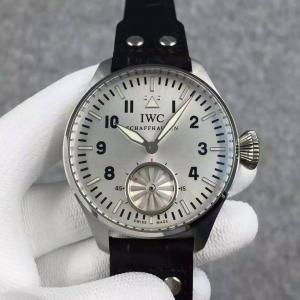 China IWC Big Pilot 46mm Turbine Hand Movement White Dial Watch Black Leather Strap on sale