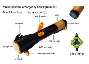 China Emergency Car Kit Torch with Safety Hammer and Belt Cutter Radio & Siren & Phone Charger X on sale