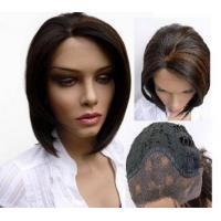 China 12'' - 36'' Silky Indian Real Lace Front Vrgin Hair Wigs No Chemical No Fiber on sale