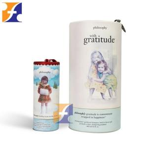 China Colorful small paper cosmetic packaging tube box /cylinder cardboard toner bottle tubes with ribbon handle on sale