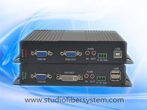 China Uncompressed 1080P vga kvm to fiber extender with local vga loopout and external analog audio on sale