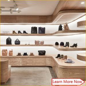 12d354156305 Customized wooden veneer furniture for shoe store,shoes shop interior design