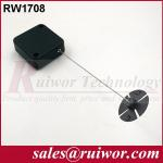 Anti Theft Recoiler Security Pull Box With Gummy ABS Plate Terminals / Square Shape
